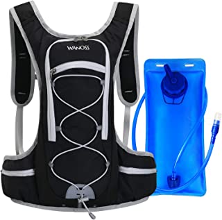 WANOSS Hydration Backpack with 70 oz Water Bladder, Nylon Water Pack with 2 Waist Bags, Lightweight Hydration Pack for Hik...
