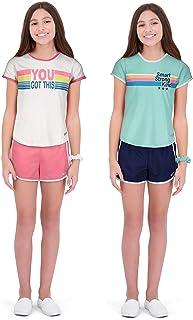 هند 4 قطع سراويل رياضية للفتيات و قمصان للتمرين البدني، ملابس التمرين للبنات