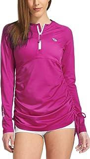 Baleaf Women's Long Sleeve Half-Zip Sun Protection Rashguard Side Adjustable Swim Shirt