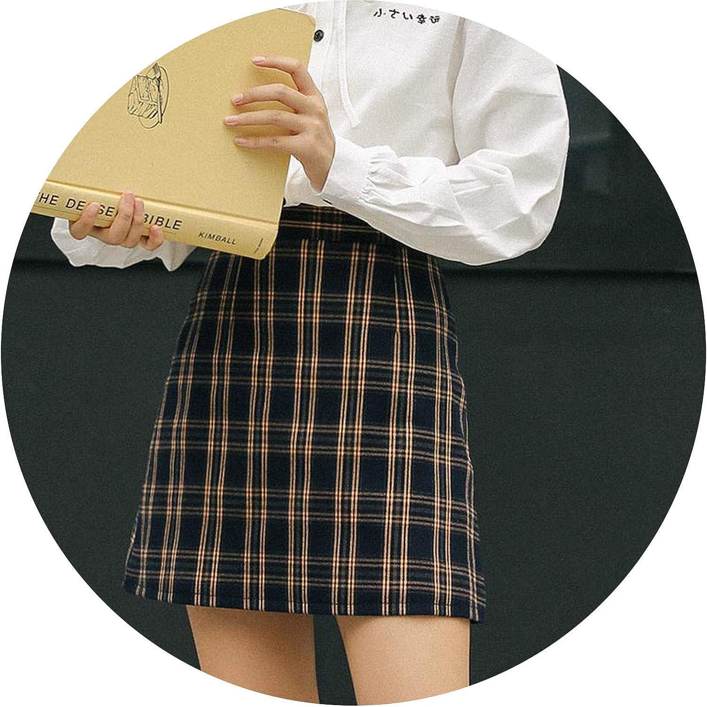 Aline Women Plaid Mini Skirt Casual Lattice Autumn Winter 2018 High Waist Skinny Sexy Robe Female Retro