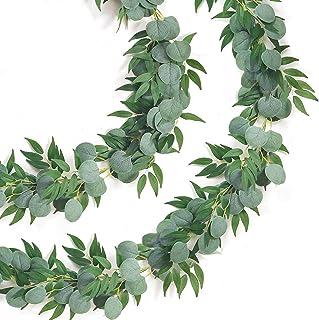 Camlinbo 2 Pack Eucalyptus Willow Garland Artificial Greenery Garland Total 13Ft Leaf Garland Wedding Vines Ivy Garland Ha...