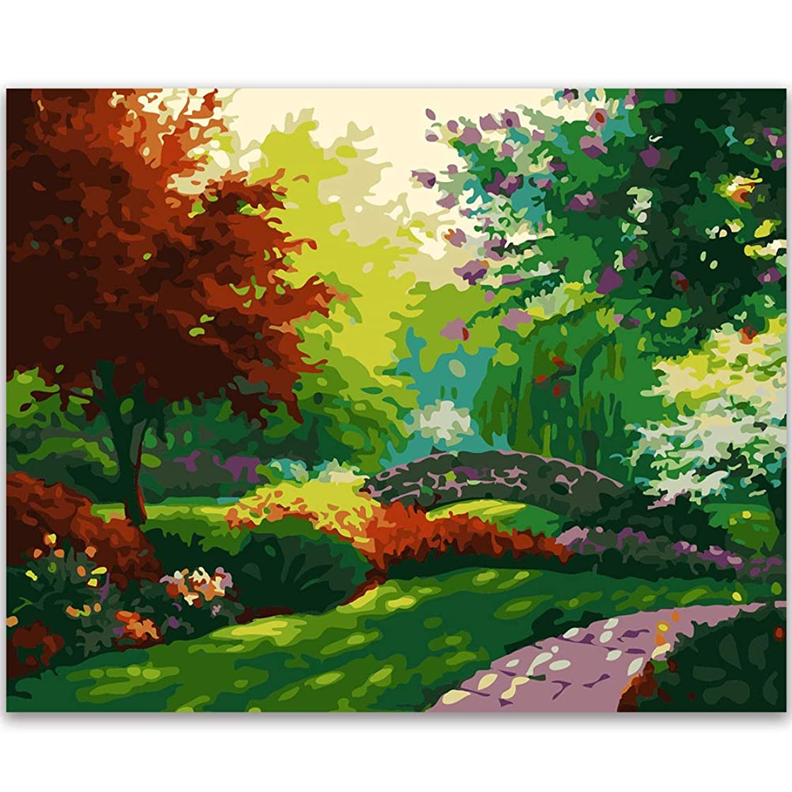 Fengtuo DIY Oil Painting Paint by Number Kit Canvas Painting Hand Colouring Decorative Picture for Jungle Design 16