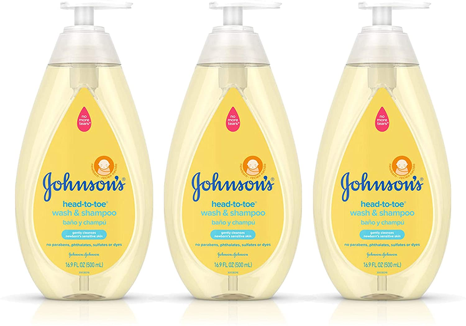 Johnson's Head-To-Toe Gentle Baby Body Wash & Shampoo, Tear-Free, Sulfate-Free & Hypoallergenic Bath Wash & Shampoo for Baby's Sensitive Skin & Hair, Washes Away 99.9% Of Germs 16.9 fl. oz