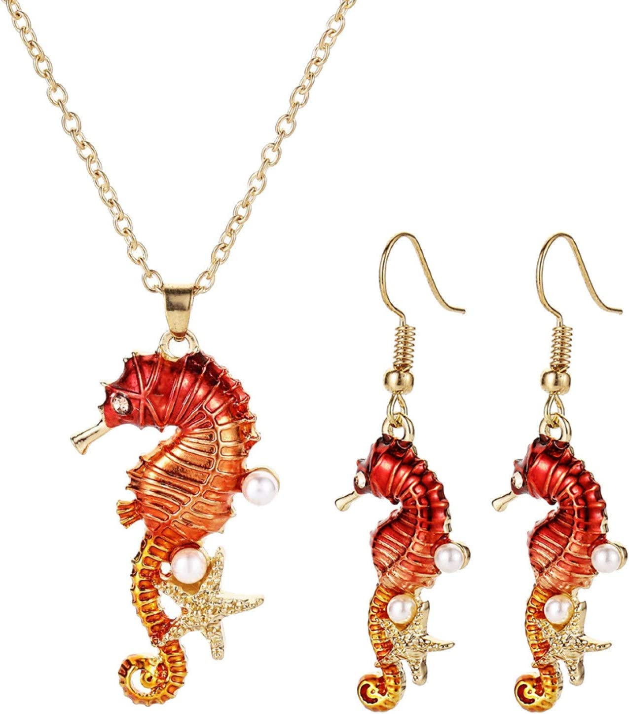 qiguch66 Earrings for Women Girls,Women Seahorse Starfish Faux Pearl Inlaid Pendant Necklace Earrings Jewelry Set - Golden
