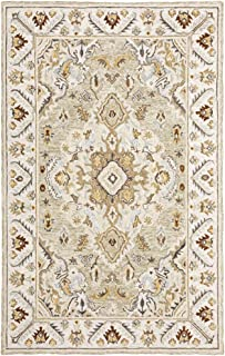 Moretti Dulce Area Rug 28403 Traditional Ivory Bordered Bulbs 8' x 10' Rectangle