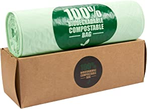 100-Piece Biodegradable Compost Bags - Eco-Friendly Trash Bags, Pail Liners - 3 Gallon Capacity - Certified for Home Composting, Green