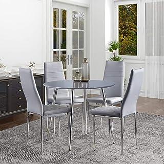 GOLDFAN Table et 4 Chaises Table à Manger en Bois Ronde Table de Cuisine Chaise en Cuir Chaise de Salle à Manger Cuisine S...