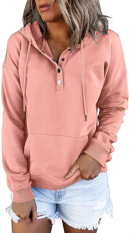 Masbird Pullover Hoodies for Women, Women's Drawstring Button Down Sweatshirts Fashion Pocket Long Sleeve Sports Hoodies