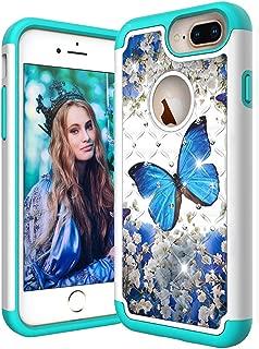 ISADENSER iPhone 6 Plus 手机壳 iPhone 6S Plus 防震二合一混合双层重型女士柔软 TPU 硅胶闪光 3D 闪耀 PC 后盖 适用于 iPhone 6S / 6 Plus 5.8 英寸 A] 2 in 1-YB-2