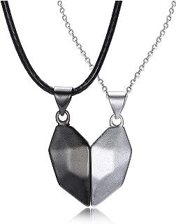 JSDDE Yin Yang - Coppia di collane con ciondolo a forma di cuore, con magnete, coppia di collane per partner