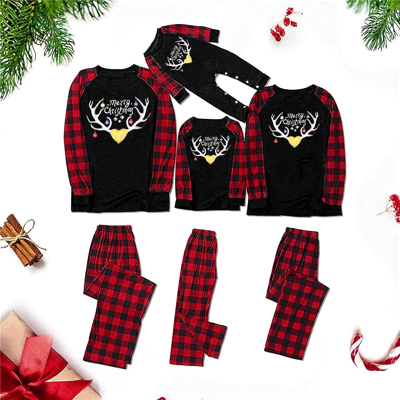 Auwer Family Matching Christmas Pajamas Set Xmas Deer Parent-Child Pajamas Dad Mom Kids Baby Sleepwear Pjs Suit
