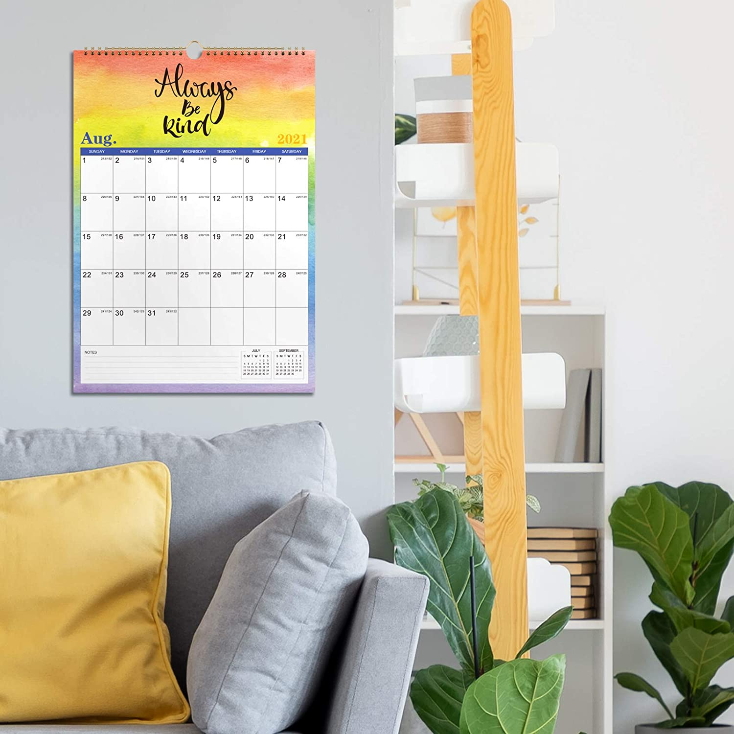 Twin-Wire Binding 12 x 17 Jan 2021 -Dec 2021 Monthly Wall Calendar with Thick Paper Large Blocks with Julian Dates 2021 Calendar Hanging Hole