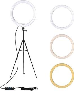 """TACKLIFE 12""""(30cm) Luz de Anillo, 3 Color 10 Brillos, Altura Ajustable 40cm-140cm Trípode con 2 Soportes Giratorio de Telé..."""