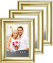 Icona Bay 5x7 (13 x 18 cm) Picture Frames (Gold, 3 Pack), Contemporary Photo Frames 5 x 7, Wall Mount or Table Top, Elegan...