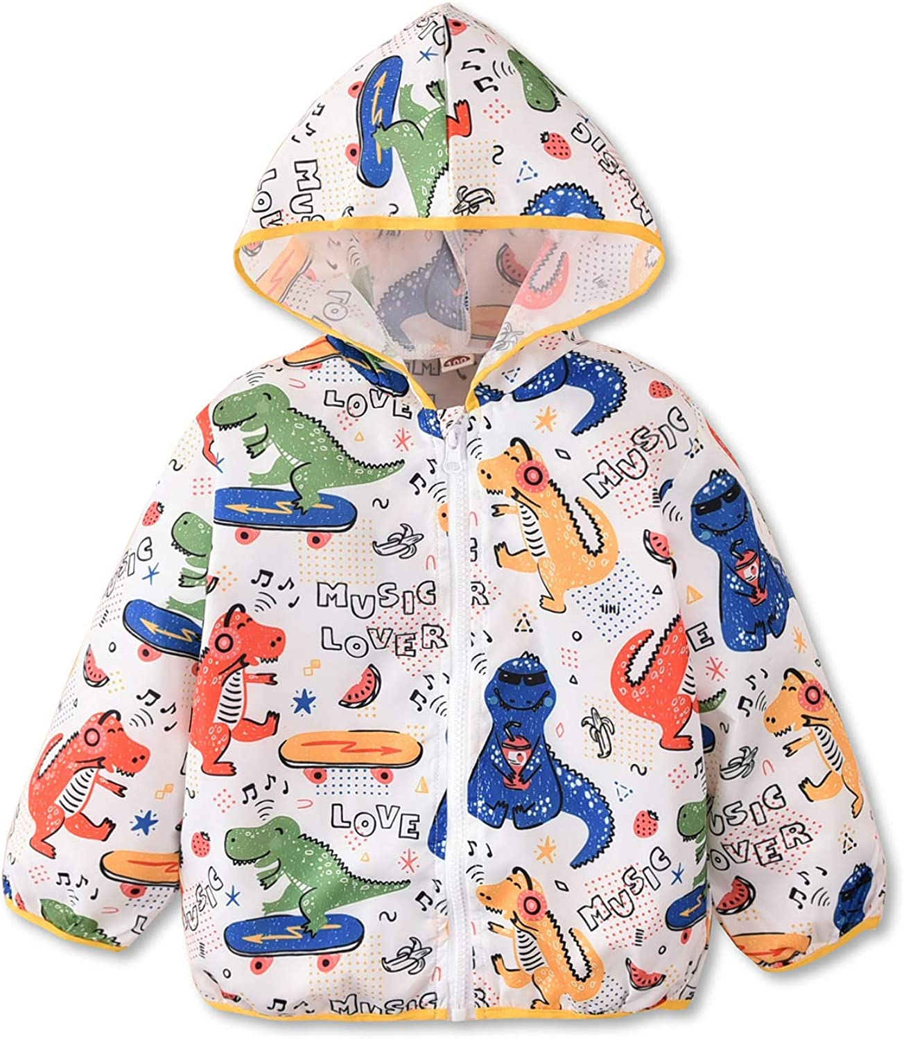 Toddler Little Boy Windbreaker Jacket Winter Outfit with Hood Dinosaur Lightweight Outerwear Fall Spring Clothes