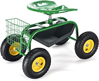 Giantex Garden Cart Rolling Tray Gardening Planting with Work Seat and Basket Outdoor Work Cart on Wheels Green
