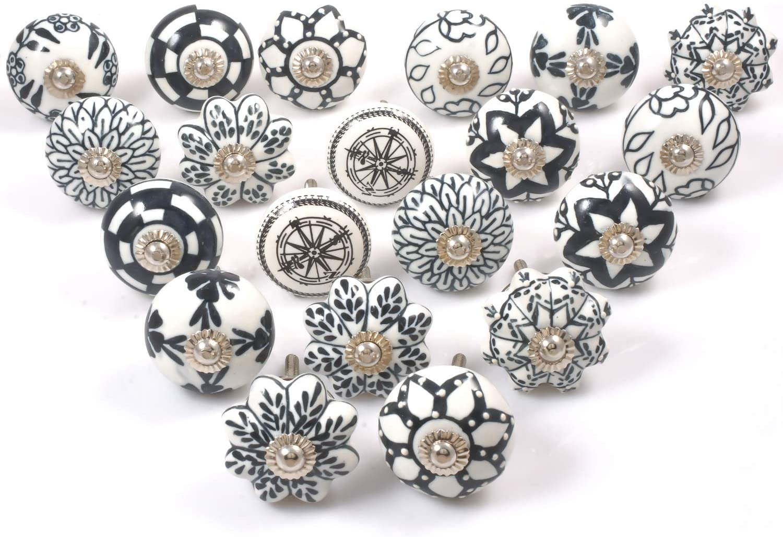 Limited  Edition set of  10 Black Vintage Shabby Chic Style Wooden Cabinet Drawer Door KNOBSHANDLES Porcelain Look set no 21