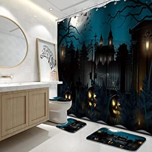 Halloween Scary Background Shower Curtain Sets with Rugs and Toilet Lid Cover and Bath Mat for Bathroom, Cemetery in The Woods Shower Curtain Sets with 12 Hooks, Waterproof Durable Bathroom Decor Set