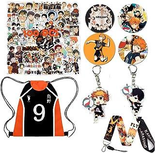 Anime Haikyuu Bolsa de regalo para fanáticos-1 Haikyuu ''NO 9'' bolsa mochila con cordón, 100 pegatinas Haikyuu para portátil, alfileres de botón, soporte para teléfono, llavero, cordón, etc.
