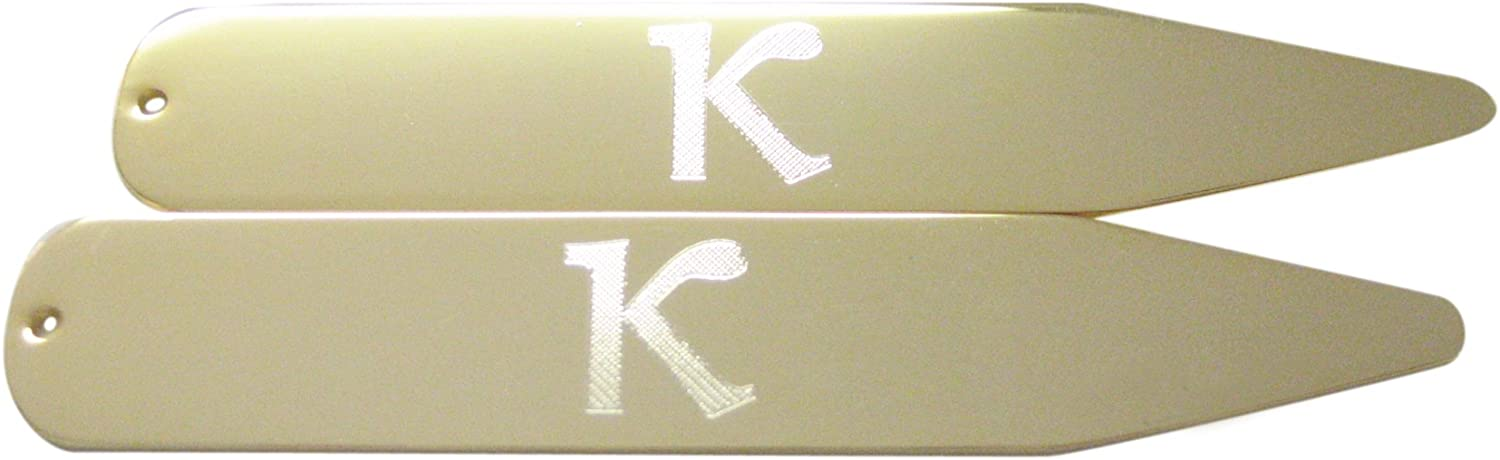 Gold Toned Etched Greek Letter Kappa Collar Stays