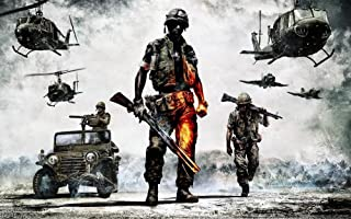 Tomorrow sunny Bad Company 2 Battlefield Helicopter Vietnam 24x36 inch art silk poster Wall Decor