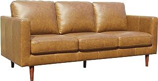 "Amazon Brand – Rivet Revolve Modern Leather Sofa Couch, 80""W, Caramel"