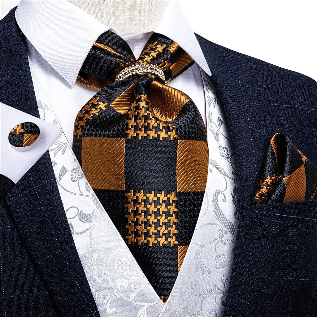 CDQYA Silk Tie Set Gold Black Check Men Wedding Formal Necktie Self British Style Gentleman Cravat (Color : Gold Ring, Size : One size)