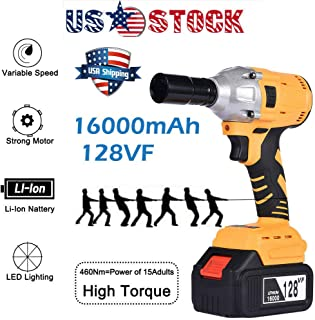Unik Always 128V16000mAh Electric Cordless Impact Wrench Brushless Gun Driver Tool 2 Battery