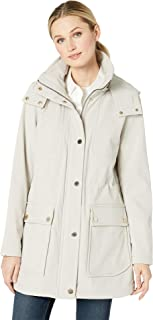 Kenneth Cole New York Womens Soft Shell Hooded Anorak w/Patch Pockets