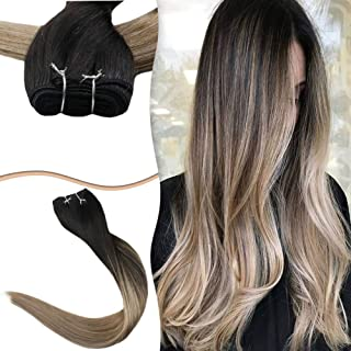 Easyouth Weave in Hair Extensions Weft Hair 22inch 100g Each Bundle Balayage Color Off Black Fading to Ash Blonde Remy Hair Bundles Straight Hair Weft Extensions