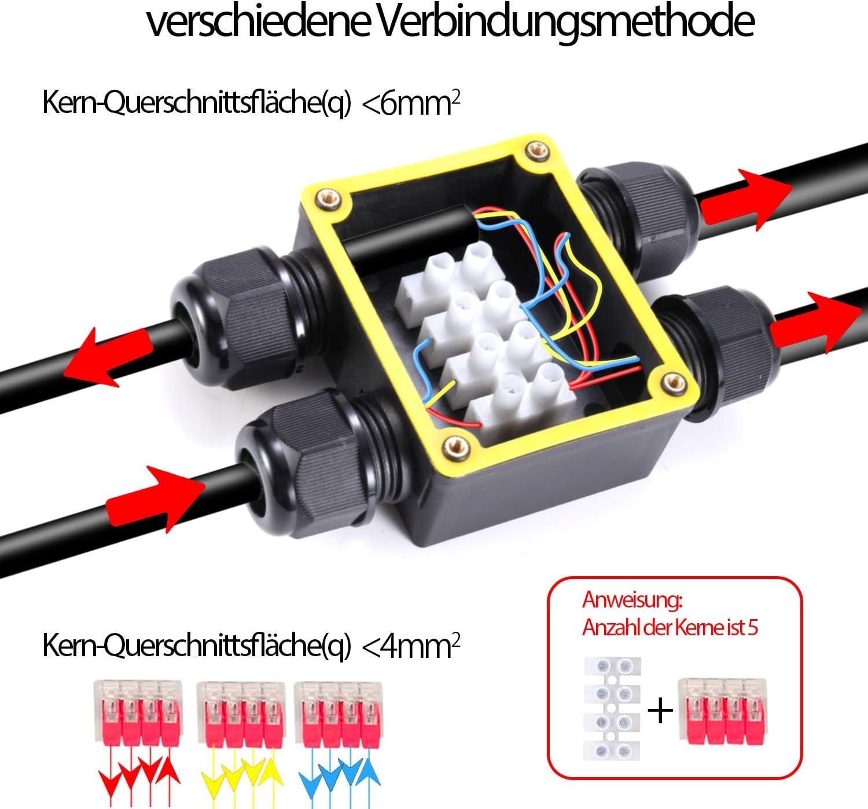 Conector de cable estanco IP68 2-pack /Ø4mm-/Ø12mm Certificaci/ón T/ÜV Manguito de conexi/ón el/éctrico exterior 3 pines para jard/ín Caja de conexiones impermeable de 2 v/ías para suelo Al aire libre