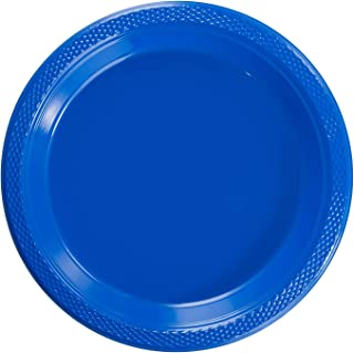 Exquisite 9 Inch. Dark Blue Plastic Plates - Solid Color Disposable Plates - 50 Count