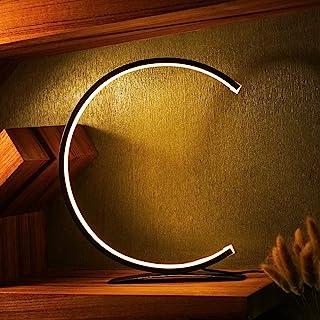 Lampe de Bureau LED Dimmable, Lampe de Chevet Noire Moderne, Design en Forme de C, Lampe de Table 8w LED avec Interrupteur...