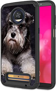 Moto Z2 Force Case, Moto Z Force (2017) Case, Rossy Heavy Duty Hybrid TPU Plastic Dual Layer Armor Defender Protection Case Cover for Motorola Moto Z Force 2017,Schnauzer Puppy Dog