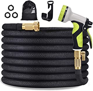 """TOCZIM 100ft New Expandable Garden Hose - Superior Strength 3750D, 4-Layers Latex with 3/4"""" Solid Brass Connectors, 9 Function Spray Nozzle, Easy Storage Kink Free Flexible Lightweight Water Hose"""