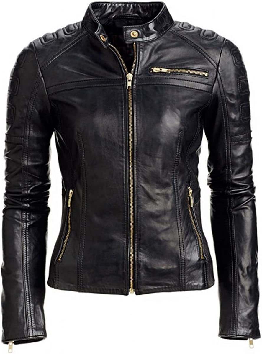 III-Fashions Women's Rave Slim fit Quilted Moto Synthetic Leather Biker Black Jacket
