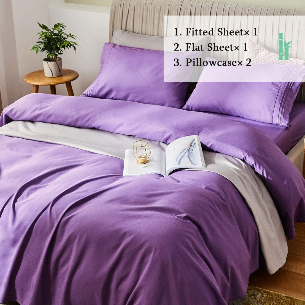 "SONORO KATE Bed Sheet Set Bamboo Sheets Deep Pockets 16"" Eco Friendly Wrinkle Free Sheets Hypoallergenic Hotel Bedding Machine Washable Silky Soft (Purple, Queen"