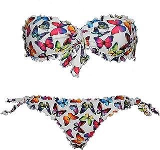 Bikinicolors Bikini Farfalle Bianco Butterfly Donna a Fascia Arricciato con Slip o Brasiliana Made in Italy (L 46 con Slip...