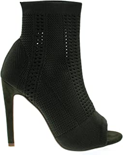 Anne Michelle Elastic Woven Above Ankle Bootie, Women's Peep Toe High Heel Boots
