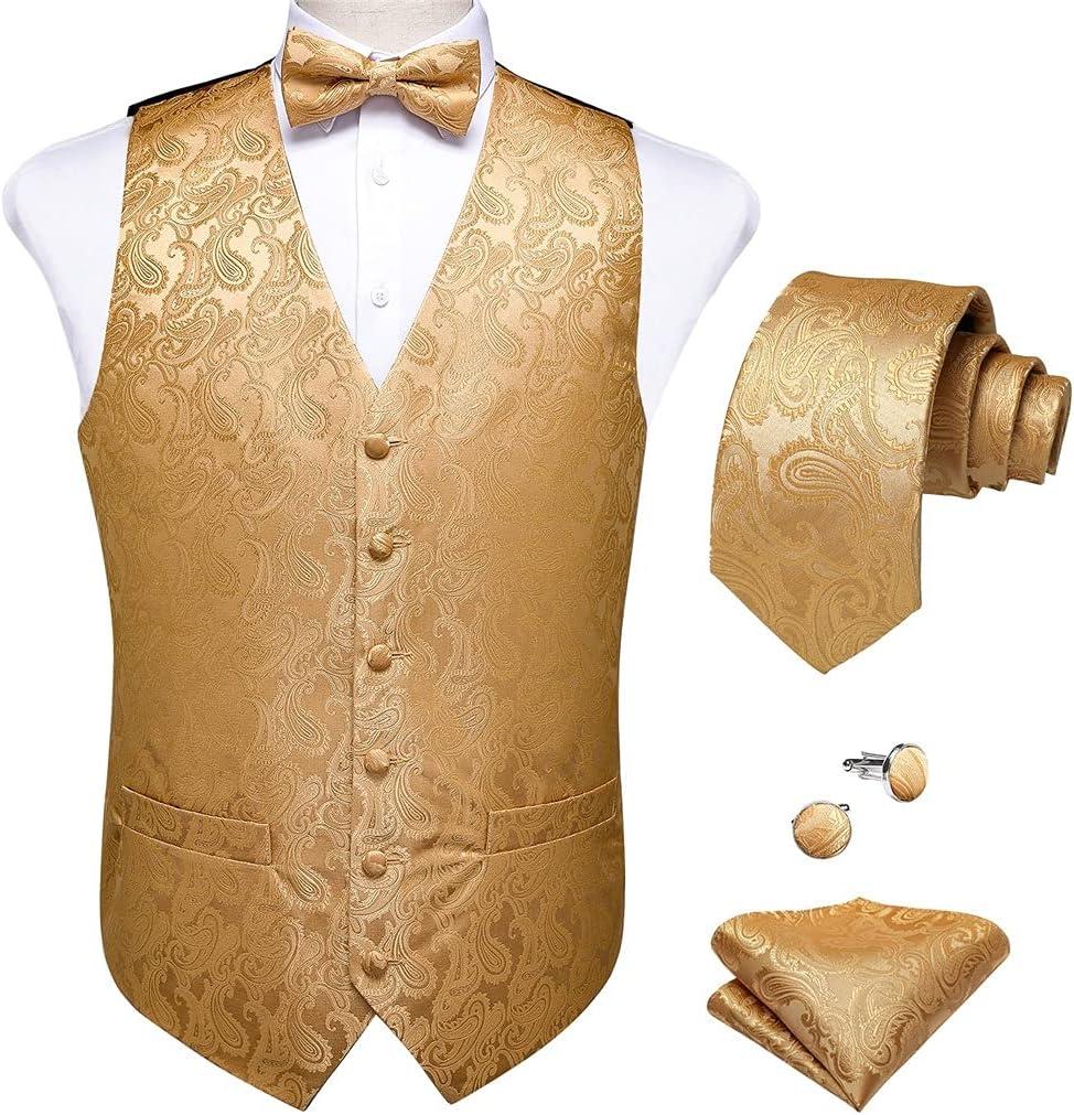JJSPP Men Suit Vest Formal Dress Vest Bow Tie Necktie Pocket Square Set Wedding Waistcoat Business (Color : A, Size : XL Code)