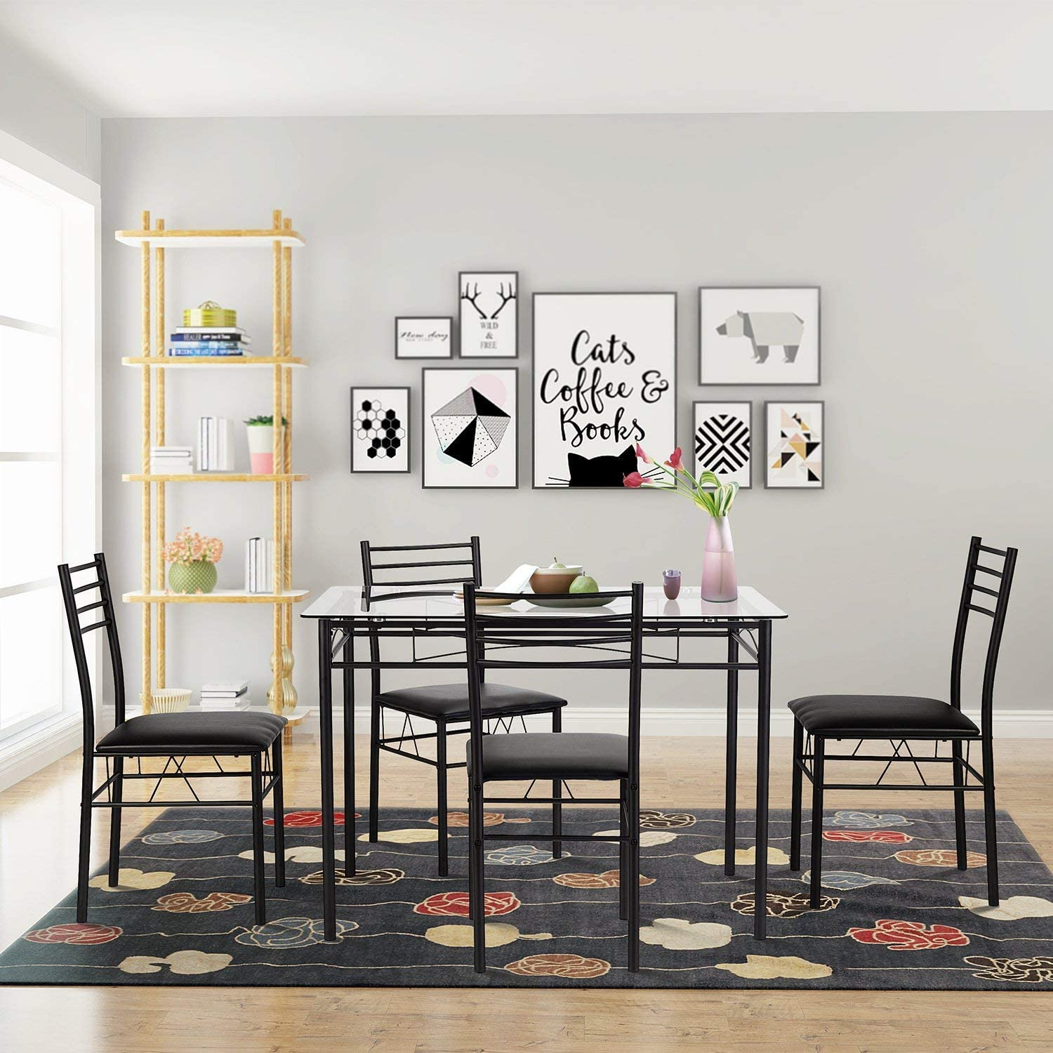 Best consumer rating: VECELO Dining Table with 4 Chairs,4 Placemats Included, Black