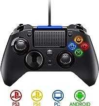 PICTEK Mando PS4 con Cable, Diseño Asimétrico para Manos Grandes, Joysticks con Doble Vibracion Turbo para PS4 / PS3 / PC (Windows XP/7/8/8.1/10) /Android/Steam, Negro