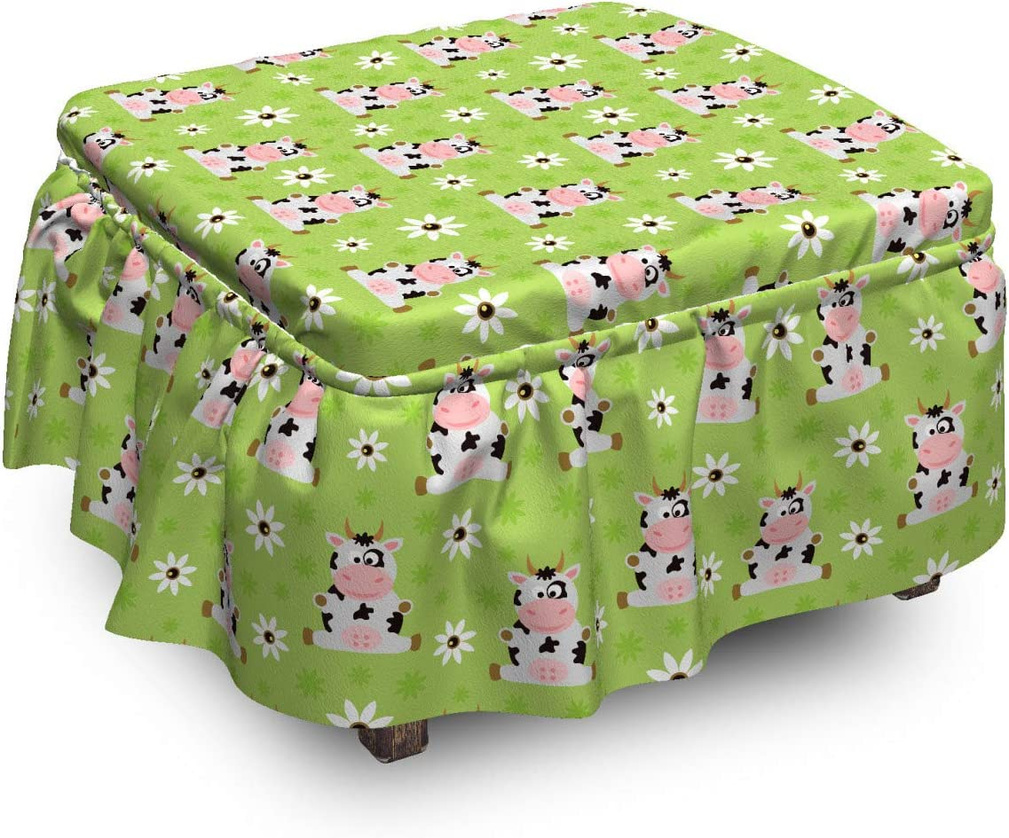Max 57% OFF Lunarable Farm Party Ottoman Cover Cow in Motifs Doodle Gifts 2 Piec