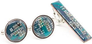 Manschettenknopfe und Krawattenklammer set mit Recycled Shaltungsplatine (circuit board), Blau