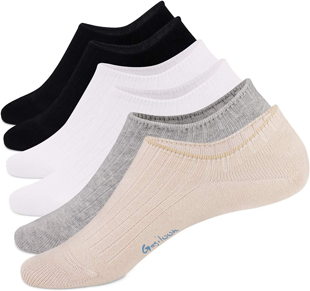 Gesiloon 6 Pairs Cotton Socks Non Slip Low Cut Invisible Casual Athletic Breathable Socks For Women Men