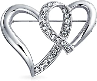 Fashion Large Crystal Open Ribbon Double Heart Scarf Brooch Pin for Women Silver Plated Brass