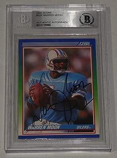 Warren Moon Autographed Signed Memorabilia 1990 Score Oilers Football Card 105 Bas Beckett Coa Autograph