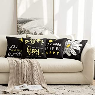 MIULEE Pack of 4 Decorative Cute Throw Pillow Covers Cheery Quote Words Bird Sunshine Flower Cushion Case Sham Pillowcases for Couch Sofa Bed 20 x 20 Inch Black