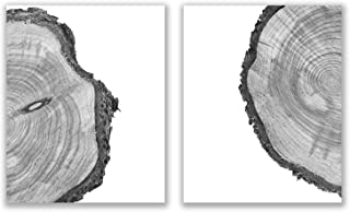 Tree Rings Prints - Set of 2 (8x10) Glossy Black and White Modern Nature Forest Scandinavain Farmhouse Minimalist Wall Art...