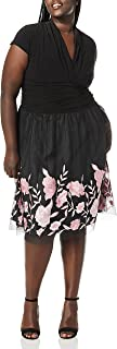 S.L. Fashions Women's Plus Size Tea Length Tuck Neck Fit and Flare Dress
